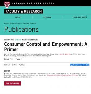 Consumer Control and Empowerment: A Primer